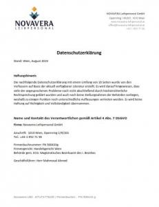 Datenschutzerklärung erste Seite