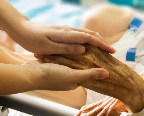 Pflegepersonal Hand halten